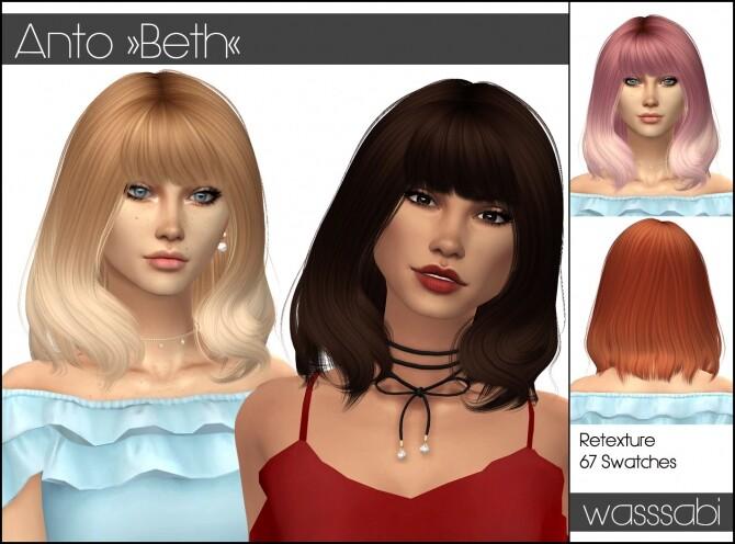 Sims 4 Antos Beth hair retextured at Wasssabi Sims