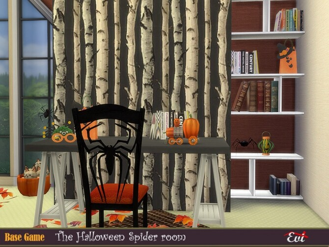 Sims 4 The Halloween Spider bedroom by evi at TSR