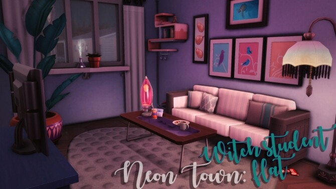 Sims 4 Neon Town Witch student flat at Wiz Creations