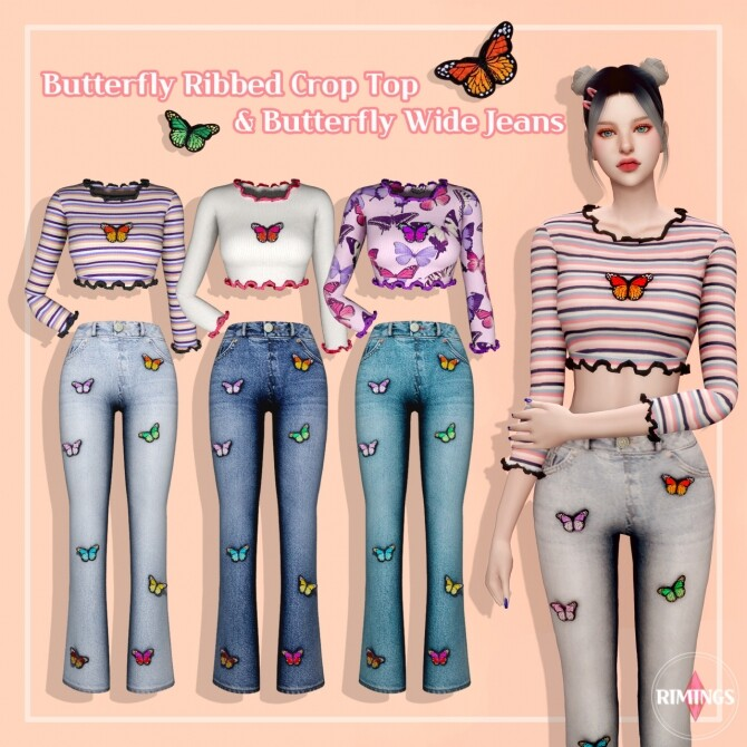 Butterfly Ribbed Crop Top & Wide Jeans at RIMINGs image 14311 670x670 Sims 4 Updates