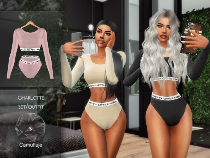 Sims 4 Charlotte Set Outfit by Camuflaje at TSR