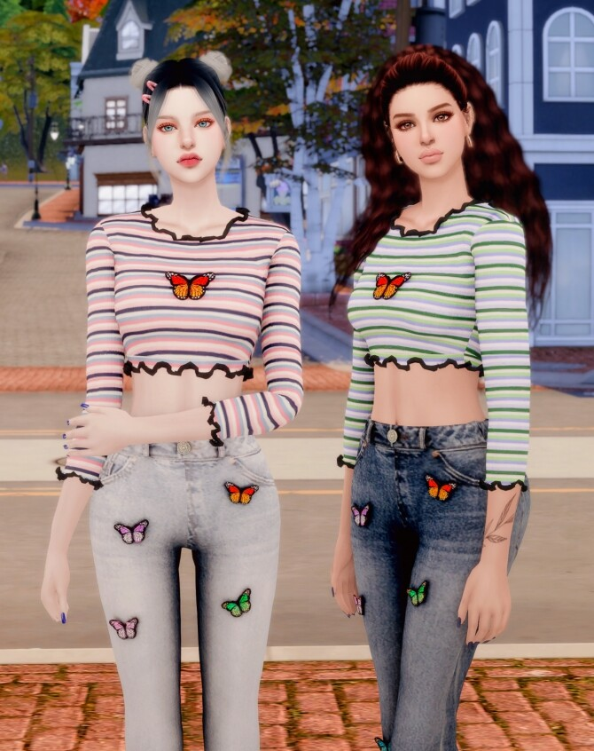 Butterfly Ribbed Crop Top & Wide Jeans at RIMINGs image 14410 670x846 Sims 4 Updates