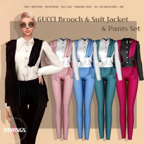 Brooch Suit Jacket Pants Set