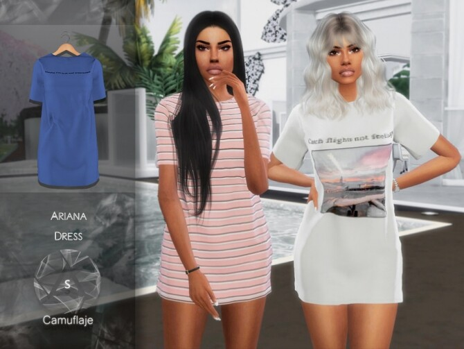 Sims 4 Ariana Dress by Camuflaje at TSR