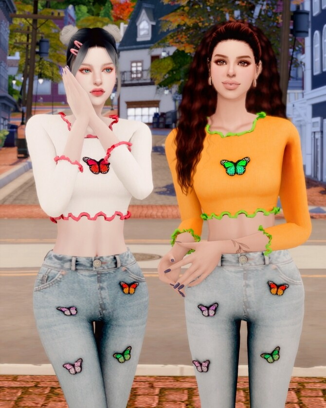 Butterfly Ribbed Crop Top & Wide Jeans at RIMINGs image 14510 670x839 Sims 4 Updates