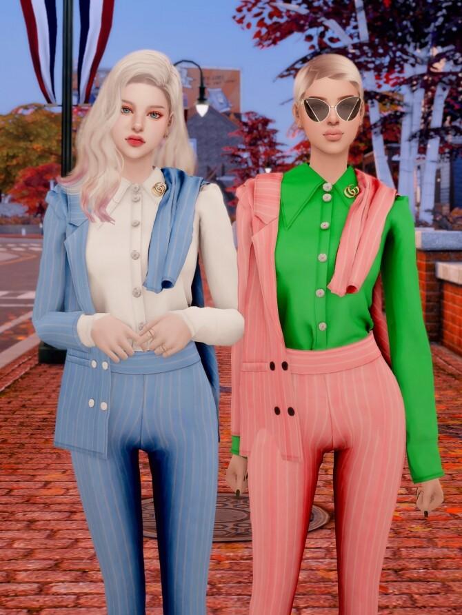 Sims 4 Brooch & Suit Jacket & Pants Set at RIMINGs