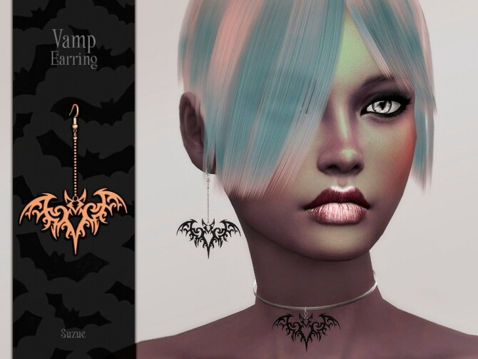 Sims 4 Vamp Earring by Suzue at TSR