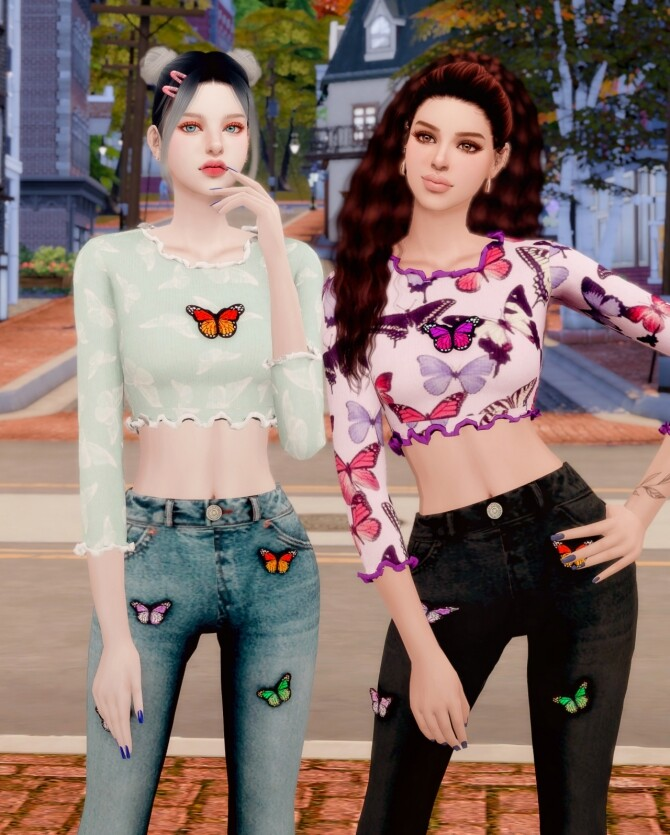 Sims 4 Butterfly Ribbed Crop Top & Wide Jeans at RIMINGs