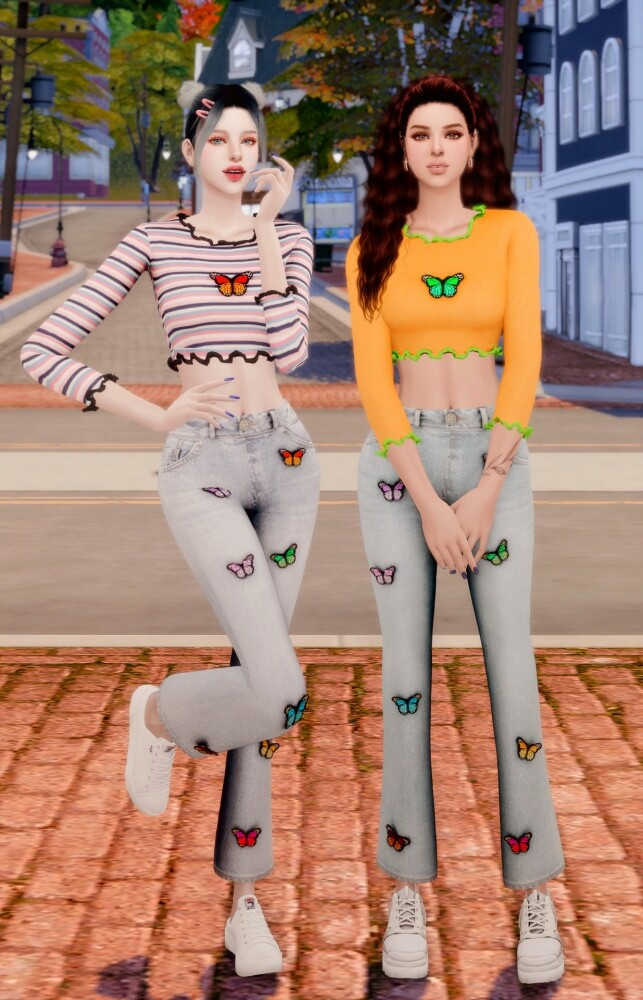 Butterfly Ribbed Crop Top & Wide Jeans at RIMINGs image 1479 643x1000 Sims 4 Updates