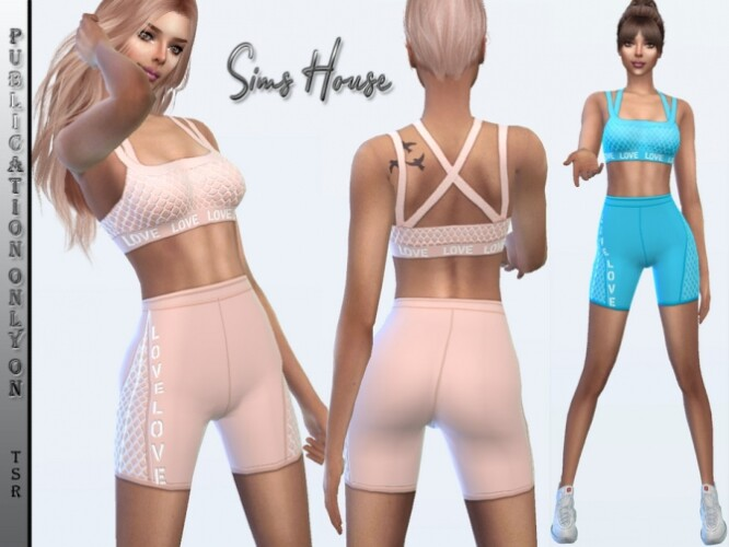 Sports top and cycling shorts with mesh by Sims House