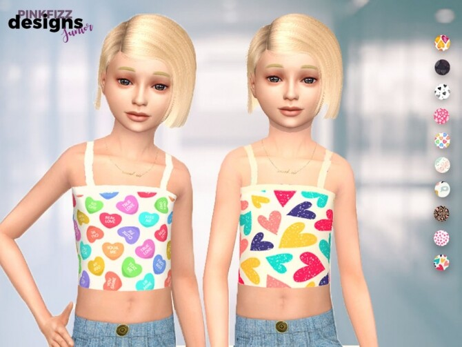 Sims 4 Junior Heart Vest Top by Pinkfizzzzz at TSR