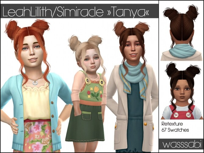 Sims 4 LeahLilliths Tanya hair retextured at Wasssabi Sims