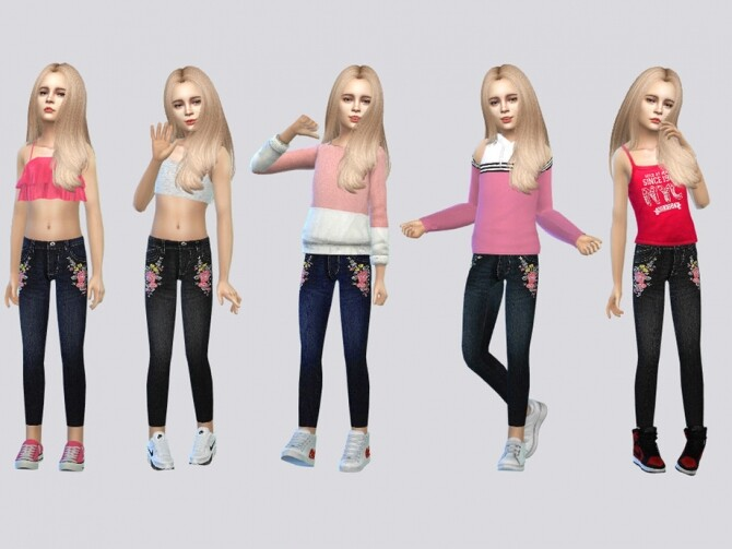 Sims 4 Pop Embroidered Jeans by McLayneSims at TSR