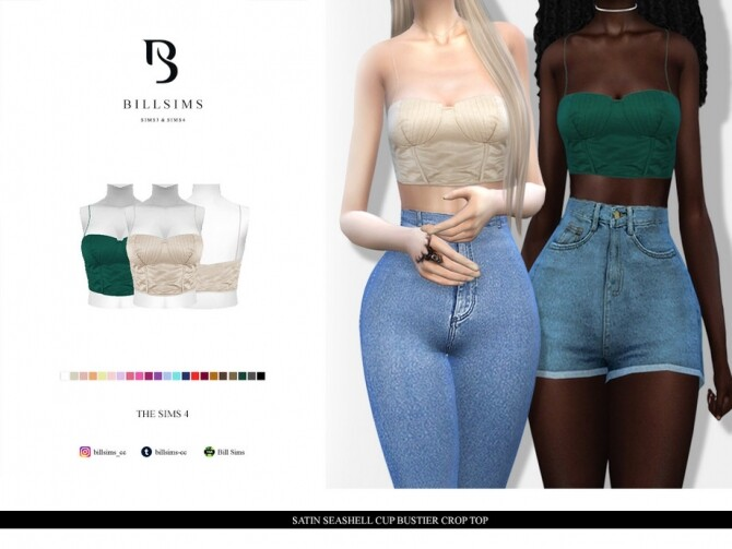 Sims 4 Satin Seashell Cup Bustier Crop Top by Bill Sims at TSR