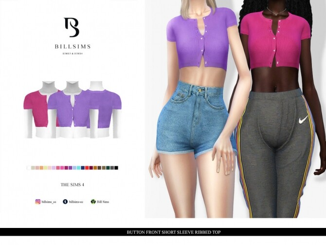 Sims 4 Button Front Short Sleeve Ribbed Top by Bill Sims at TSR
