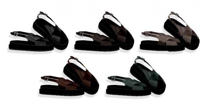 Sims 4 M dawn in september leather sandals at Bedisfull – iridescent