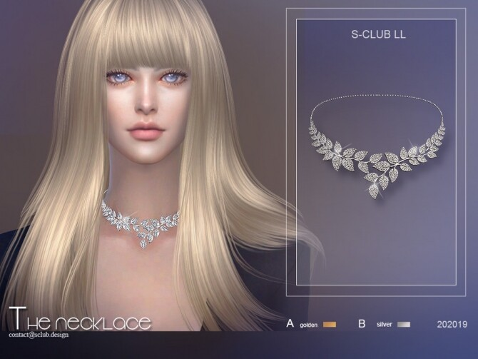 Sims 4 Leaf diamond necklace 202019 by S Club LL at TSR