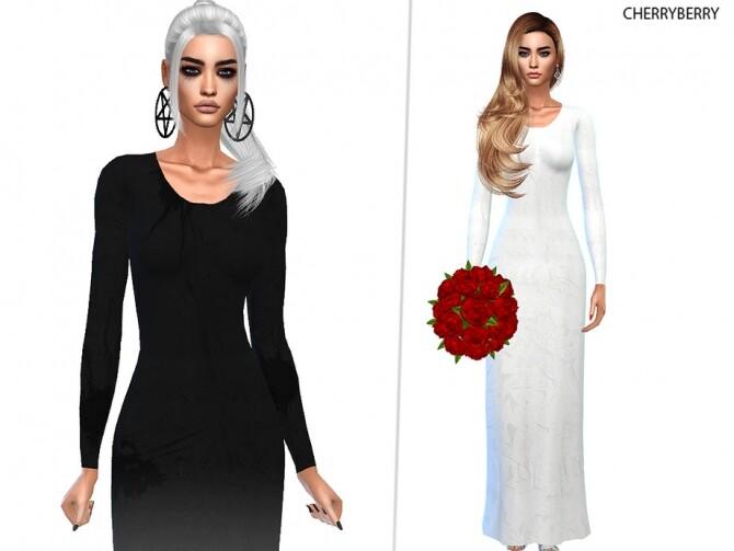 Sims 4 Gothic Bride Wedding Dress by CherryBerrySim at TSR
