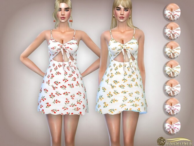 Ditsy Floral Print Tie Front Mini Dress by Harmonia at TSR image 1656 670x503 Sims 4 Updates
