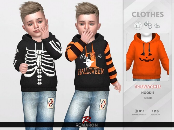 Halloween Hoodie for Toddler 01 by remaron at TSR image 1696 670x503 Sims 4 Updates