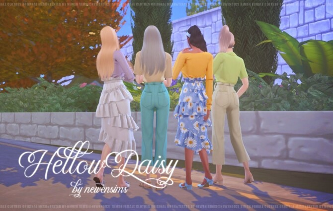 Sims 4 Hellow Daisy Clothes Set at NEWEN