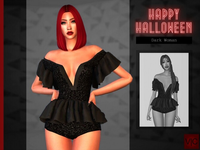 Dark Woman outfit Halloween VI by Viy Sims at TSR image 17113 670x503 Sims 4 Updates