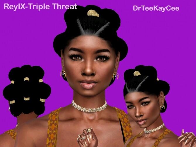 Sims 4 ReyIX Triple Threat hair by drteekaycee at TSR