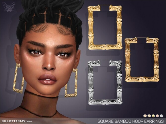 Square Bamboo Hoop Earrings at Giulietta image 1726 670x503 Sims 4 Updates