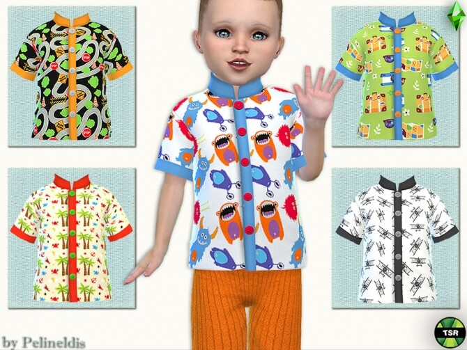 Sims 4 Toddler Colorful Shirt by Pelineldis at TSR