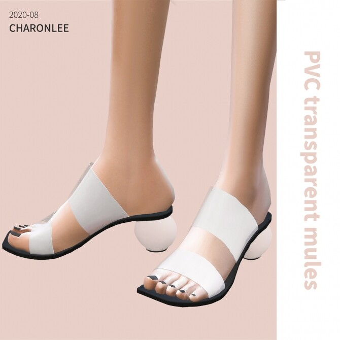 PVC transparent high heel mules at Charonlee image 1804 670x670 Sims 4 Updates