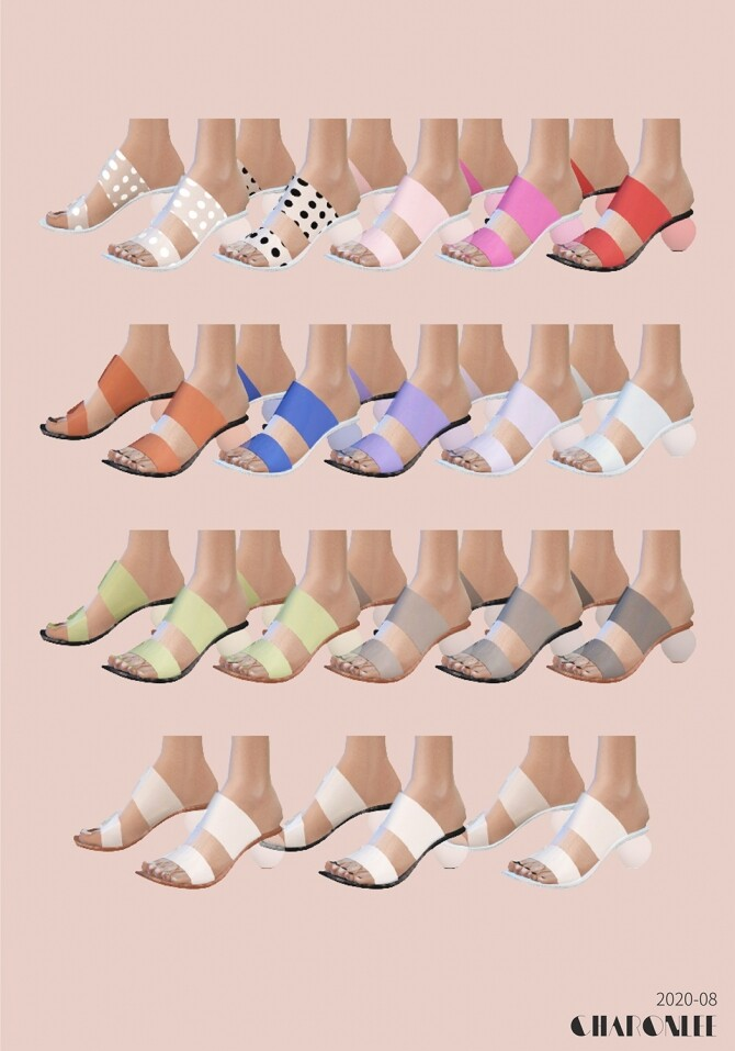 Sims 4 PVC transparent high heel mules at Charonlee