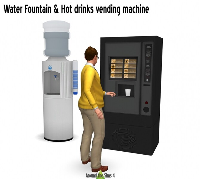 Functional hot drink vending machine & water fountain at Around the Sims 4 image 1844 670x602 Sims 4 Updates