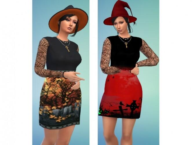 Sims 4 Halloween dress at Louisa Creations4Sims