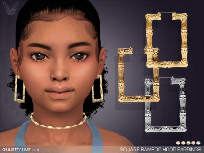 Square Bamboo Hoop Earrings For Kids