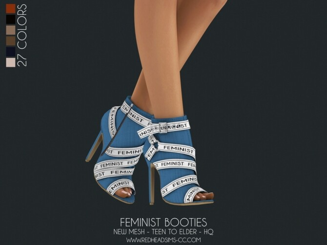 Sims 4 FEMINIST BOOTIES at REDHEADSIMS