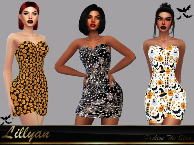 Sims 4 Dress Catryna Halloween by LYLLYAN at TSR