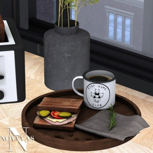 TRAY WITH COFFEE AND SANDWICH