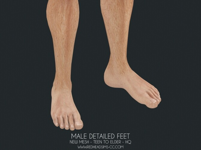 Sims 4 MALE DETAILED FEET SHOES AND DEFAULT at REDHEADSIMS