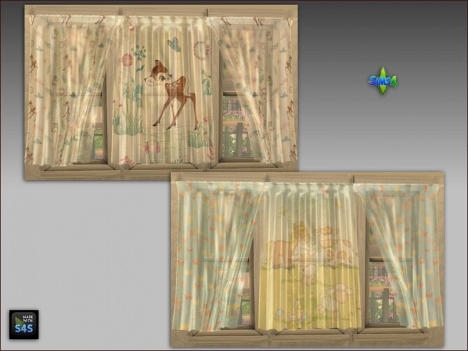 Sims 4 Curtains and pouf tables for kids at Arte Della Vita