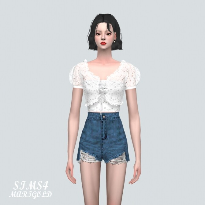 Sims 4 Frill Eyelet Lace Blouse at Marigold