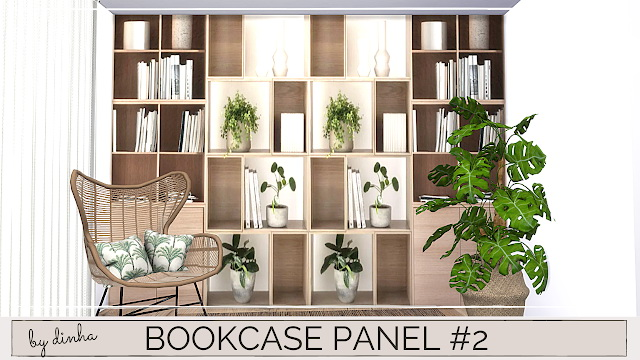 Sims 4 Bookcase panels #2 & 3 at Dinha Gamer