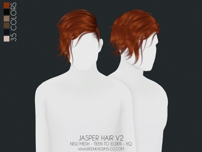 JASPER HAIR 2 VERSIONS ALL AGES at REDHEADSIMS image 21310 670x503 Sims 4 Updates