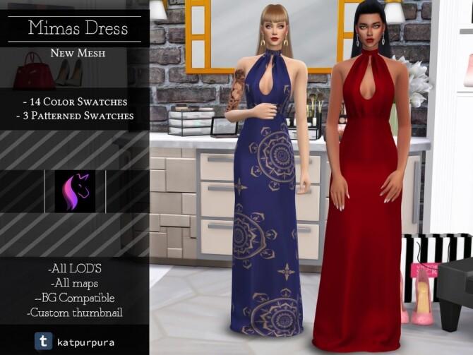 Sims 4 Mimas Dress by KaTPurpura at TSR