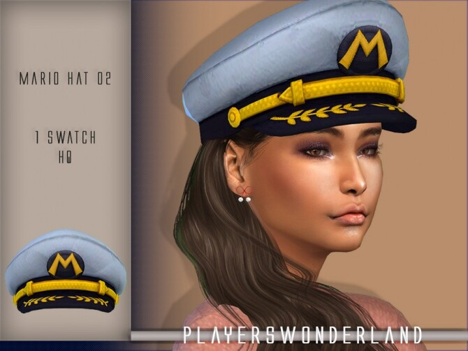 Sims 4 Mario Captain Hat by PlayersWonderland at TSR