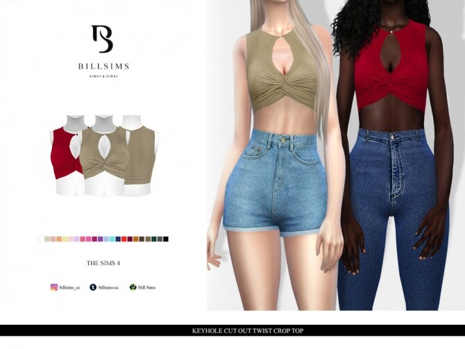 Sims 4 Keyhole Cut Out Twist Crop Top by Bill Sims at TSR