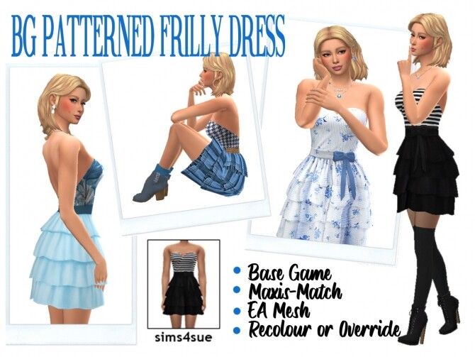 Sims 4 BG PATTERNED FRILLY DRESS at Sims4Sue