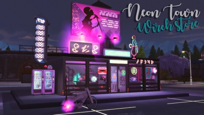 Sims 4 Neon Town: Witch store at Wiz Creations