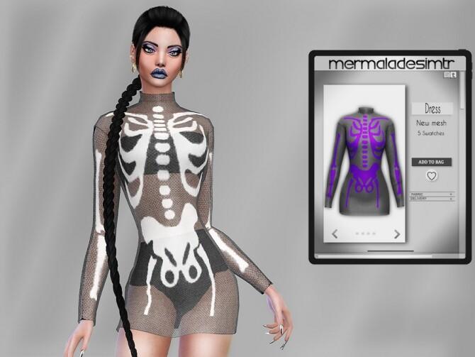 Sims 4 Skeleton Print Dress MC84 by mermaladesimtr at TSR