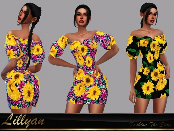 Sims 4 Dress Flora by LYLLYAN at TSR