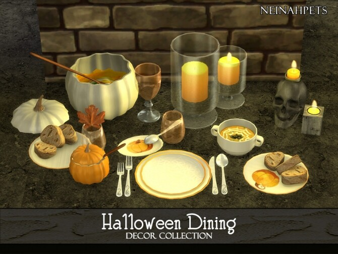 Sims 4 Halloween Dining Decor by neinahpets at TSR